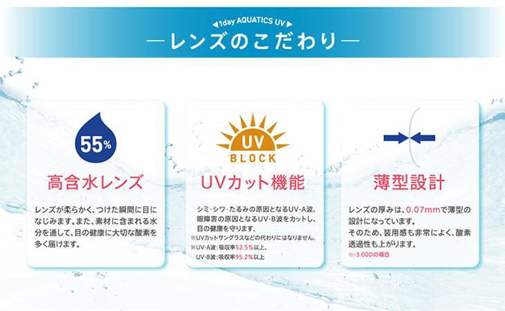 ワンデーアクアティクスUV/1day/ワンデー/AQUATICS/UVカット/高含水/春花/テラスハウス/55%/薄型設計