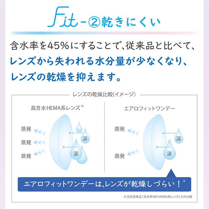 エアロフィットワンデー,イメージモデル小松菜奈,含水率を45%にすることで、従来品と比べて、レンズから失われる水分量が少なくなり、レンズの乾燥を抑えます。