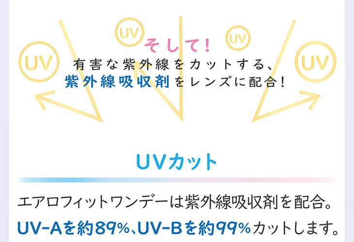 エアロフィットワンデー,イメージモデル小松菜奈,UVカット機能,UV-Aを約89%、UV-Bを約99%カット