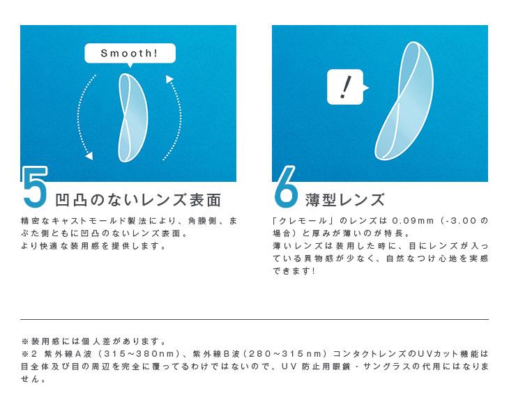 精密なキャストモールド製法により、角膜側、まぶた側ともに凹凸のないレンズ表面・目にレンズが入っている異物感の少ない薄型レンズでより快適で自然なつけ心地
