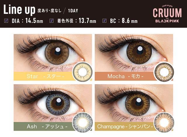 クルームCRUUM,DIA14.5mmの装用レンズ総まとめ比較画像