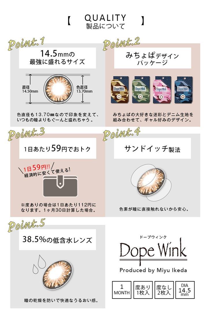 Dopewink/ドープウィンク/1ヶ月/マンスリー/みちょぱ/池田美優/度なし/度あり/クオリティー/スペック