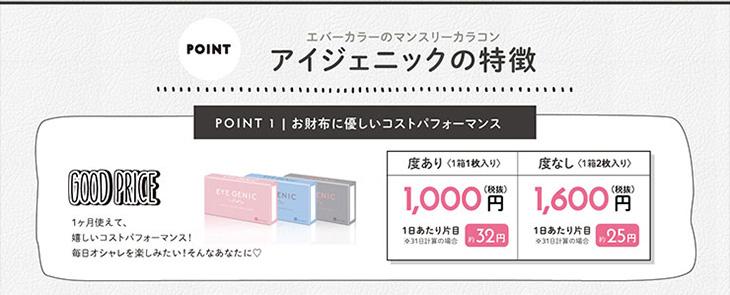 新木優子イメージモデルのアイジェニック|エバカラのマンスリーカラコンのお財布に優しいコスパ良し度あり度なしDIA14.5mm