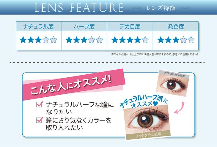 エバーカラーワンデーモイストレーベルレンズ特徴,ナチュラルハーフな瞳になりたい方や瞳にさりげなくカラーを取り入れたい方にオススメ