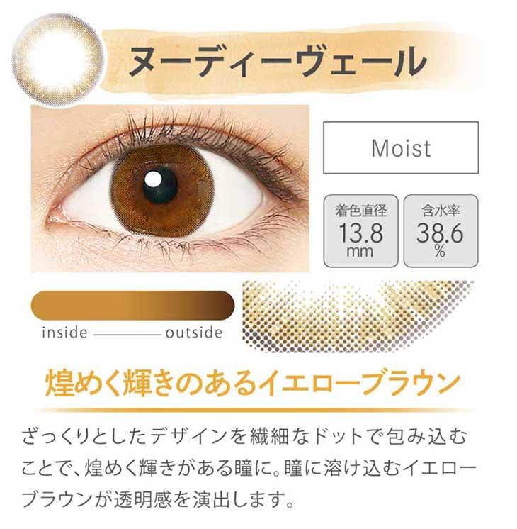 エバーカラー1dayモイストレーベル/沢尻エリカ/ワンデー/レンズ/装着画像/ヌーディーヴェール/モイスト/着色直径13.8mm/含水率38.6%/煌めく輝きのあるイエローブラウン/ざっくりとしたデザインを繊細なドットで包み込むことで、煌めく輝きがある瞳に。瞳に溶け込むイエローブラウンが透明感を演出します。