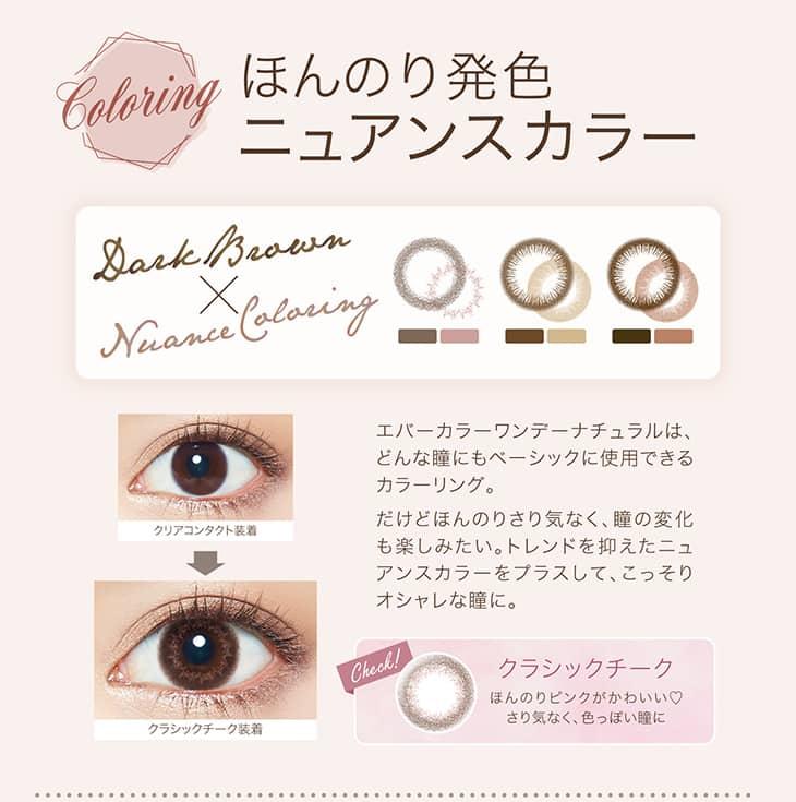 どんな瞳にもベーシックに仕様できるカラーリング。トレンドを抑えたほんのり発色ニュアンスカラーをプラスしてこっそりオシャレな瞳に。