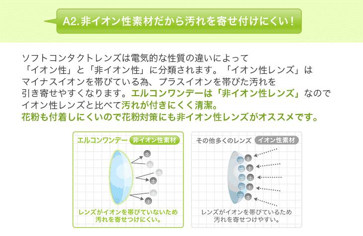 非イオン性レンズのエルコンワンデーは汚れがつきにくく、花粉対策にもオススメ