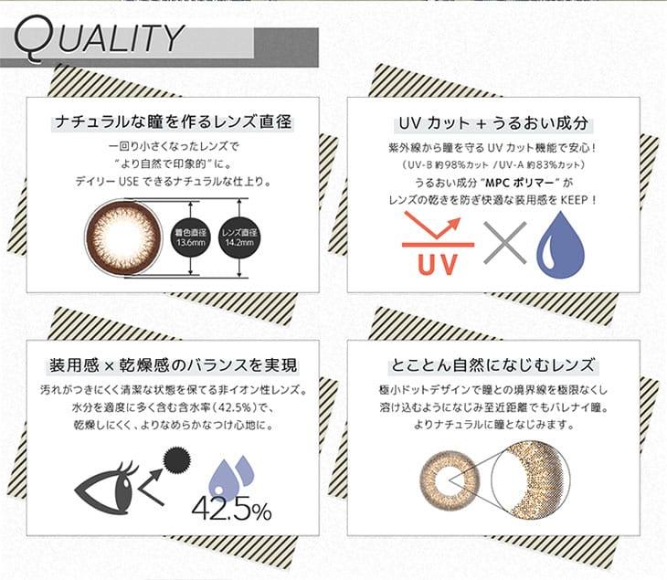ラブホリックアイルーチェワンデーUVは含水率42.5%の高含水レンズ