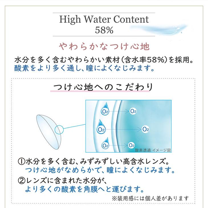 水分を多く含むやわらかい素材(含水率58%)を採用。酸素をより多く通し、瞳によくなじみます,つけ心地へのこだわり,①水分を多く含むみずみずしい高含水レンズで瞳によくなじみつけ心地なめらか②レンズに含まれた水分が、より多くの酸素を角膜へ運びます