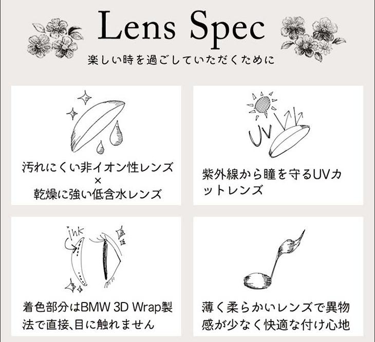 パーフェクトシリーズ フルブルーム,レンズスペック,汚れにくい非イオン性レンズ・乾燥に強い低含水レンズ・UVカット・BMW3DWrap製法で色素が直接目に触れない・薄くて柔らかいレンズで快適な付け心地
