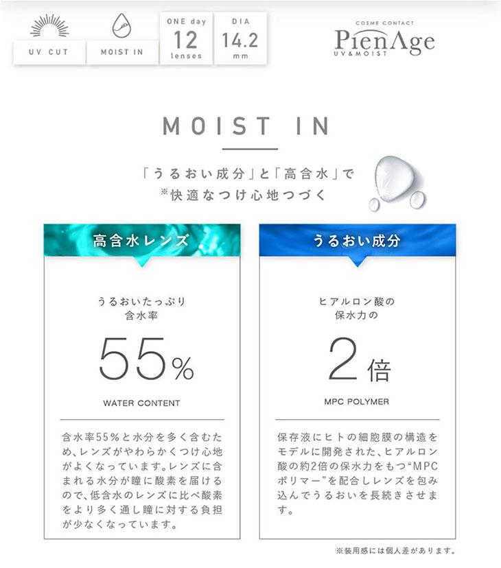 マギーPienAgeピエナージュ55%UVM|うるおい成分2倍になり、高含水55%でつけ心地が良い