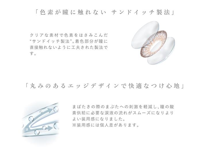 ピエナージュ55%UV&モイスト,色素が瞳に触れないサンドイッチ製法で安心,丸みのあるエッジデザインで快適なつけ心地