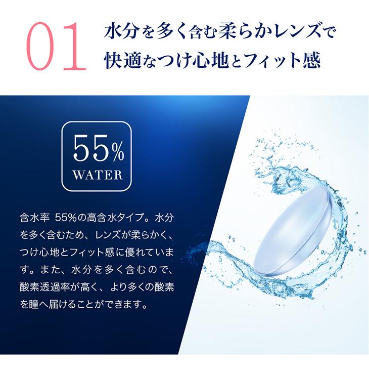ピュアアクアワンデー55ハイモイスト,クリアコンタクト,含水率55%の高含水タイプ,水分を多く含む柔らかレンズで快適なつけ心地とフィット感