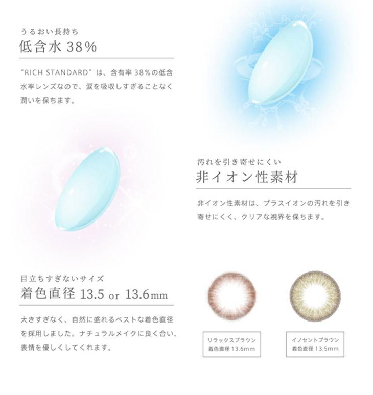リッチスタンダードツーウィーク星玲奈さんイメージモデル|スペック詳細 サンドイッチ製法低含水38%非イオン性素材3トーンカラー着色直径13.5mmと13.6mm