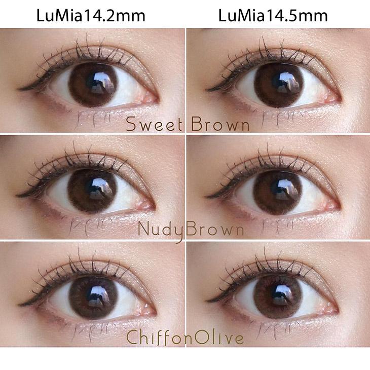 森絵梨佳イメージモデルのワンデー(1day)カラコンルミア(LuMia)14.2mmと14.5mmのカラコン着画の全色サイズ比較画像