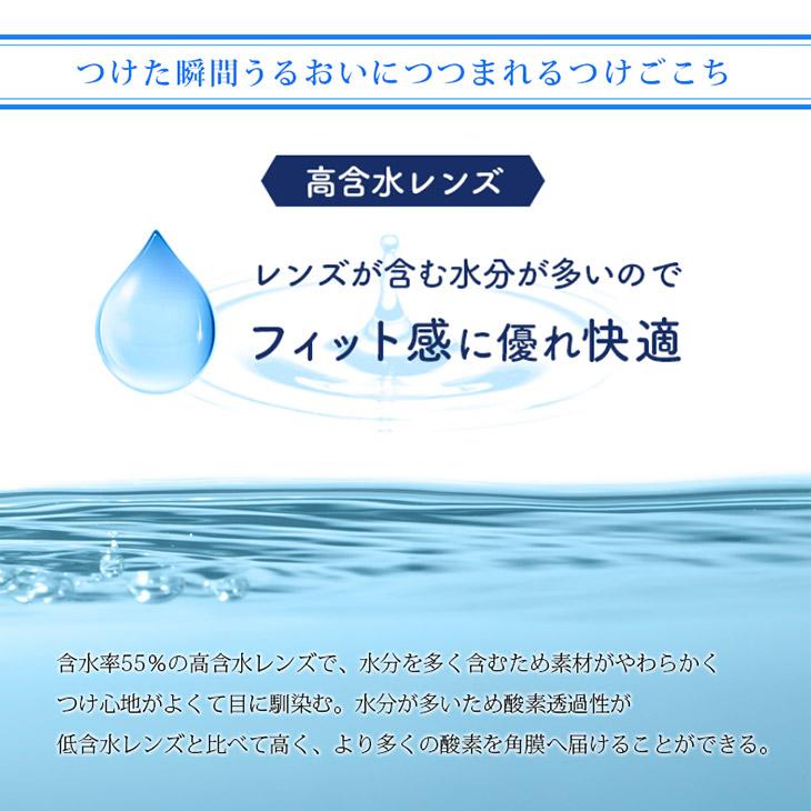 つけた瞬間にうるおいにつつまれるつけごごち,レンズが含む水分が多い高含水レンズでフィット感に優れ快適,酸素透過性も高くより多くの酸素を角膜へ届けます
