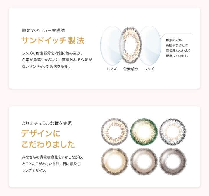 セレクトフェアリーユーザーセレクト|安心安全なサンドイッチ製法と、よりナチュラルな瞳を実現できるレンズデザイン