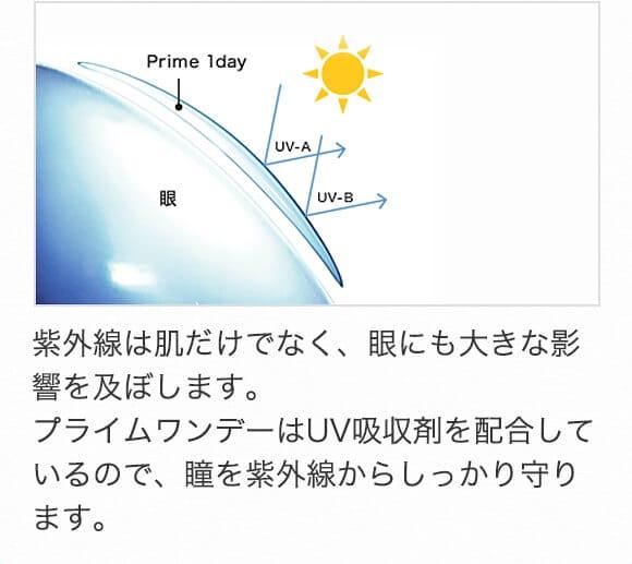 紫外線は肌だけでなく、眼にも大きな影響を及ぼします。プライムワンデーはUV吸収剤を配合しているので、瞳を紫外線からしっかり守ります。